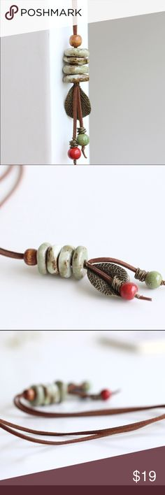 Long leather necklace Ceramic beads on long leather with leaf accents A Bohemian Child Jewelry Necklaces