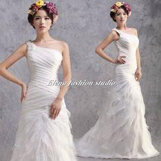 Custom Make Wedding Dress  One shoulder Organza by ELENAWEDDING, $239.00