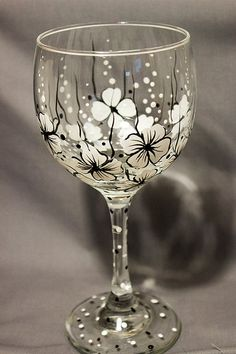 Wine Glasses - www.idecz.com/... Wine Glass Floral Wine Glass Black and White by concettasdesigns