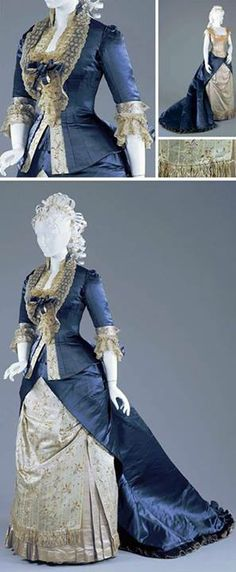 Receiving gown 1877/8. You can see how the lobster tail was evolving into the form-fitting Natural Form shape. I love this dress.