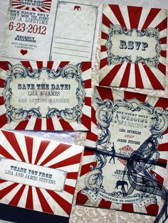 so cute!! ** REPIN TO WIN ** Vintage Carnival Wedding Stationery Set (Gorgeous Circus Invitation, Save the Date, Thank You Card Printable Suite) Red, Blue & White ♥ #confettidaydreams #RePinToWin ur description with #Wedding #Stationary #Printable #VintageWeddingPress
