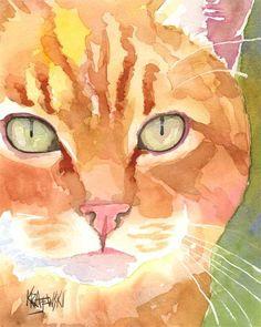 Gatto soriano arancio stampa artistica di Acquarello originale - 8 x 10