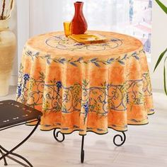 French-made tablecloth.  Product: TableclothConstruction Material: PolyesterColor: PeachFeatures: Made in FranceDimensions: 72 Diameter