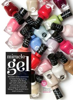 Love this!  Sally Hansen Miracle Gel 14-Day Wear Light-Free Gel Polish — 47 shades, available Aug 2014.