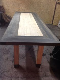 conference table with black oak and pine -riverwood ( 1 m x 3 m )