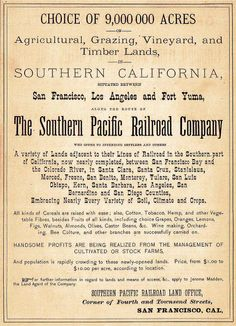 Southern Pacific Railroad Land Advertisement