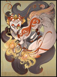 Kitsune Magic, by Flying-Fox. Kitsune play a role in many of my games, and I thought I should upload some reference art. Mythical Creatures List, Fantasy Creatures, Mythological Creatures, World Mythology, Chinese Mythology, Folklore Japonais, Art Fox, Japanese Fox, Japanese Cartoon