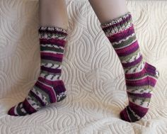 Colorful knitted wool socks for women by CityChickCrafts on Etsy