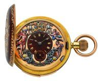 Swiss Rare & Very Fine Carillon Minute Repeating Three Motion Automaton With Gold, Enamel & Diamond Case. Pocket Watches, Automata, Chain Pendants, Clocks, Chains, Compact, Bracelet Watch, Enamel, Boxes