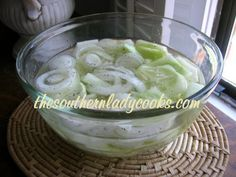 Cucumbers and Onions: 2 to 3 medium sized cucumbers, peeled 1 medium onion, sliced cup white vinegar (can add more or less) 3 or 4 cups water (enough to cover cucumbers in bowl) teaspoon black pepper 1 teaspoon salt *Dill is optional Vinegar Cucumbers, Creamed Cucumbers, Cucumbers And Onions, Cucumber Onion Vinegar, Green Onions, Cucumber Recipes, Vegetable Recipes, Salad Recipes, Veggies