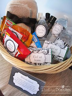a Welcome Guest basket to have waiting when they arrived.  It was pretty easy and it added a little extra touch to make them feel welcome.  A great idea for any guest room for all the guests that come to visit. Guest Room Baskets, Guest Welcome Baskets, Guest Room Decor, Guest Rooms, Welcome Gift Basket, Goodie Basket, Welcome Gifts, Guest Gifts, Creative Gifts