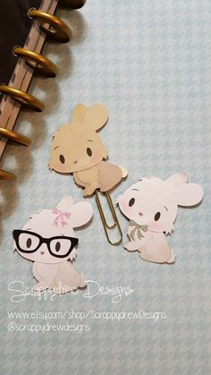 Cute Chibi Easter Bunny planner clip by ScrappydrewDesigns on Etsy