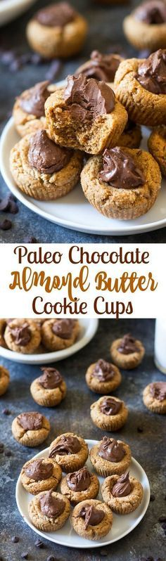 Chocolate Almond Butter Paleo Cookie Cups - chewy almond cookie cups with almond butter fudge filling. These Paleo cookies are perfect for healthy holiday baking! (Gluten Free Recipes For Dessert) Low Carb Dessert, Paleo Dessert, Gluten Free Desserts, Dairy Free Recipes, Paleo Recipes, Real Food Recipes, Disney Recipes, Disney Food, Baking Recipes