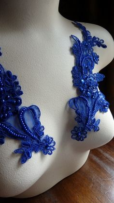 Beaded and Embroidered Organza Lace Applique Pair in Cobalt Blue for Bridal, Headbands, Sashes, Costume Design PR 108. $7.00, via Etsy.