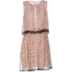 Pf Paola Frani Short Dress ($330) ❤ liked on Polyvore featuring dresses, apricot, pocket dress, sleeveless short dress, flared dresses, no sleeve dress and flared mini dress