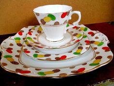 Art Deco / Vintage china Tea Set Trio + B & B Plate.Royal Stafford.British.6624