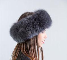 fox fur head band by GENA