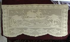 Vintage Filet Crocheted Table Runner  Table by VintageKeepsakes