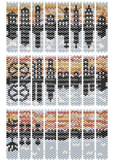 Carrier Bead Patterns, Odd Count Peyote, Eight-Colour Patterns, Full Word Charts, Reversible Skyline Scene Carrier beads need strips 7 beads wide, and either 48 or 50 rows, depending on the manufacturer, bead finishes and your tension. Ive included suggested bead colours, but you just