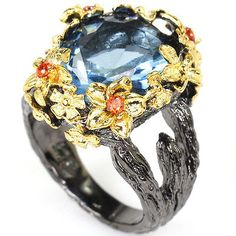 Vintage-London-Blue-Topaz-Orange-Spessartite-Garnet-Black-Gold-Silver-Ring-7