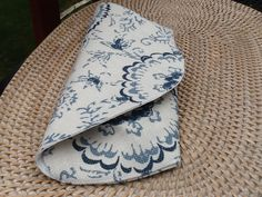 Hand Clutch Blue White Background Linen Fabric Snap Closure by TogetherThreads on Etsy