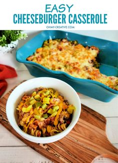 The best thing about this cheeseburger casserole is that you can make the entire thing in one dish! Feed your family in minutes - best easy affordable dinner! It's filled with all their favorite cheeseburger flavors. It's a crowd-pleasing delight! OHMY-CREATIVE.COM #cheeseburgercasserole #dinnercasserole #easycasserolerecipe #affordabledinnerrecipe #easydinnerideas #familydinnerrecipe Best Party Appetizers, Popular Appetizers, Thanksgiving Dinner Recipes, Pasta Dinner Recipes, Easy Casserole Recipes, Casserole Dishes, Easy Homemade Recipes, Delicious Recipes, Cheeseburger Casserole