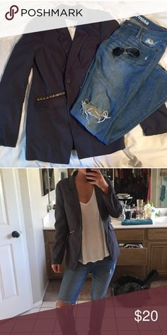 Free People Blazer grey blazer from free people, with gold studs along the pockets Free People Jackets & Coats Blazers
