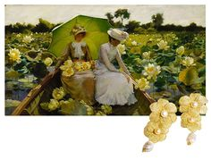 Charles Courtney Curran - Lotus Lilies (1888) | Camellia double-flower lace pearl earrings by Maria Traini #yellow #goldsmith #earrings #pearls #bobbinlace