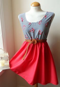 Jennifer Lilly Red White and Blue Nautical Striped Anchor Dress, $30.00