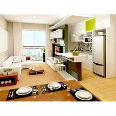 Pequeno e muito bem integrado, paredes e ambientes abertos dão amplitude ao…