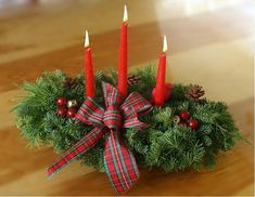 This Highland 3 candle centerpiece is traditionally decorated with fresh Maine balsam, fresh white pine, and fresh cedar. This is the perfect accent to any holiday dinner table. Classic Christmas Decorations, Xmas Decorations, Holiday Decor, Holiday Ideas, Christmas Candles, Christmas Wreaths, Christmas Crafts, Christmas Ideas, Christmas Tree