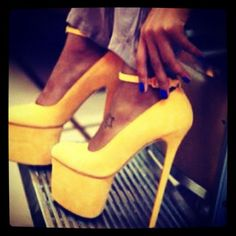 yellow platform pumps -- Taken with #snapette #shoes