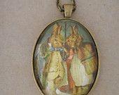 Rabbit necklace, Vintage rabbit necklace, bunny necklace,vintage necklace, book page necklace, book page pendant, bunny necklace, valentines