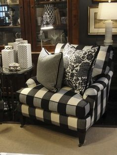 SHNS photo courtesy Nell Hill's Covered in a classic black-and-white buffalo check, this chair is relaxed and timeless, something you could keep for generations.