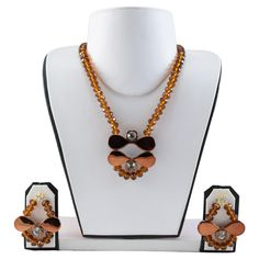 Brown Crystal Beads Designer Necklace #handmade #jewellery #necklace fashionvalley.in