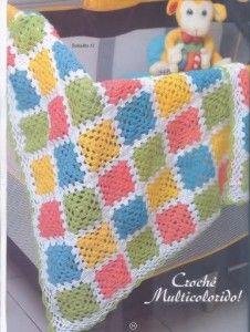 colorful granny square baby blanket crochet