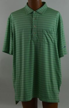 Peter Millar Summer Comfort Men's Green Purple Striped Short Sleeve Golf Polo XL #PeterMillar #PoloRugby