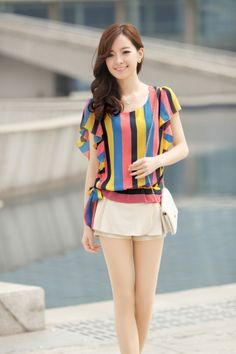 Large Stripes, Summer Chiffon, Sleeveless, Casual Top, YRB0298, YRB style, Korean Fashion, Asian Clothing, Women, Womens online store, Free ...