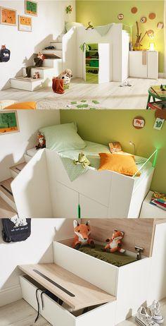 verspieltes Hochbett fun | Sorge für Spaß mit durchdacht fantasievollen Stauraummöglichkeiten ins Kinderzimmer – mit dem Modell fun. #fun #white #kids #modern #MoebelLETZ