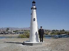 Check out Wind Point Lighthouse replica on Lake Havasu, AZ. Original is on Racine Harbor, WI - http://ourtravelingblog.com/2015/10/26/lake-havasu-lighthouse-replicas-part-3/