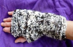 Hand knitted fingerless gloves mittens with cable by RebeccasWool