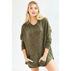 Ecote Boyfriend Hooded Sweater ($59) ❤ liked on Polyvore featuring tops, sweaters, green, side slit sweater, oversized sweaters, green sweater, mock neck sweater and ecote sweater
