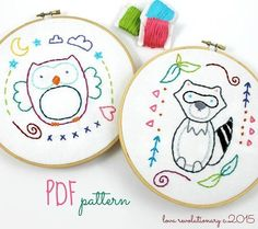 (10) Name: 'Embroidery : Owl & Raccoon Hand Embroidery Pattern