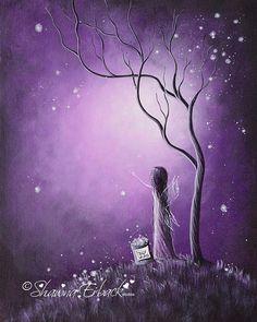 Fairy Paintings Painting - Original Fairy Artwork By Shawna Erback by Erback Art Graffiti Kunst, Fine Art Amerika, Fairy Paintings, Fantasy Paintings, Pop Art, Fine Art Prints, Canvas Prints, Purple Art, Purple Painting