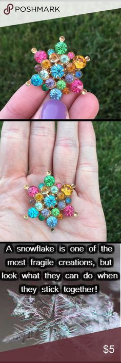 Rainbow Snowflake pin When snowflakes come together, we can become an avalanche. Absolutely love this piece! This item must be purchased as a part of a bundle. May not be purchased individually. Vintage Jewelry Brooches