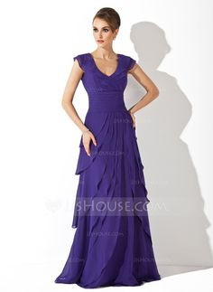 A-Line/Princess V-neck Sweep Train Chiffon Evening Dress With Ruffle (017020663) - JJsHouse