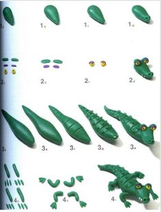 Picture tutorial for a cute cartoonish alligator! I'm working on my own little moveable gator sculpture now, so thought this was appropriate to pin. :) These reptiles are so adorable!