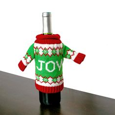 Knit Ugly Christmas Sweater For Your Bottle of Wine – JOY