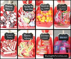 I absolutely LOVE this simple idea for a graduation-themed candy buffet! Your guests can satisfy their sweet tooth AND get a laugh out of the cute names for the candy. Check out these ideas for a Graduation Party Candy Buffet! Graduation Party Desserts, Graduation Party Planning, Graduation Party Themes, Graduation Decorations, Grad Parties, Graduation Gifts, College Graduation Parties, Candy Party, Party Favors