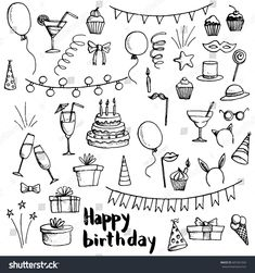 Find birthday party doodle set, vector isolated hand drawn elements stock vectors and royalty free photos in HD. Explore millions of stock photos, images, illustrations, and vectors in the Shutterstock creative collection. Happy Birthday Doodles, Happy Birthday Drawings, Birthday Card Drawing, Happy Birthday Signs, Birthday Cards, Happy Doodles, Calendar Doodles, Planner Doodles, Party Doodle